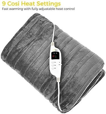 Cosi Home Manta Térmica Eléctrica. Con Control Remoto, Temporizador y 9 Niveles de Calor: Amazon.es: Salud y cuidado personal