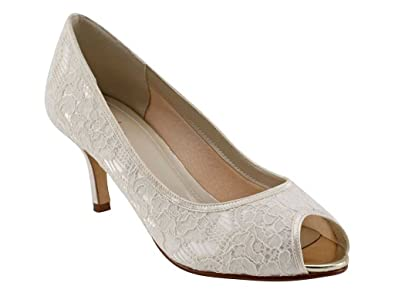 2a668de94a16 Rainbow Club Ava - Ivory Lace Peep Toe Bridal Shoe  Amazon.co.uk ...