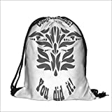 Travel Drawstring Closure Bag Completion of Studies Achievement Ceremony Artistic Mortarboard Black White Gift Bag Pouches 13.5'W x 16'H