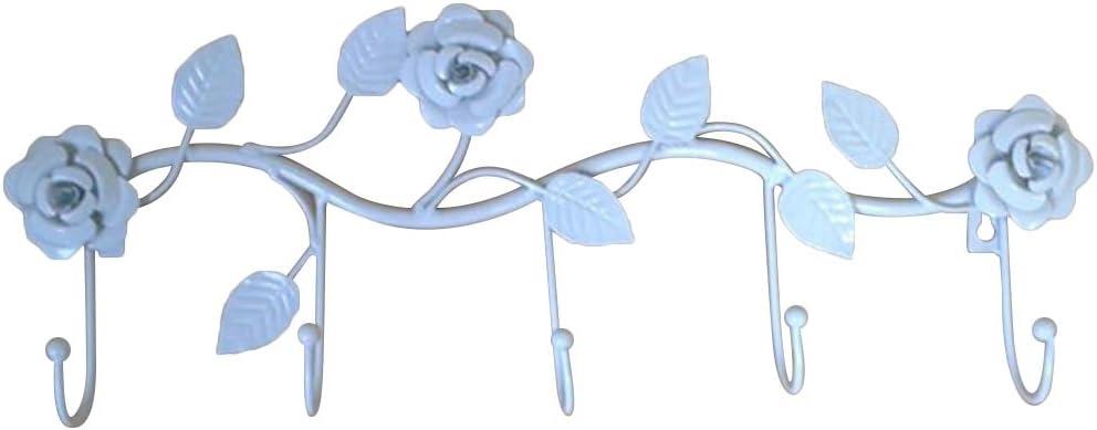 BESTOMZ Bastidor de Gancho de Hierro con 5 Ganchos Colgador de baño para Ropa de Toalla Bolsa de Sombrero Bolsa Forma de Flor Rosa Carril de Hierro Colgante (Blanco)