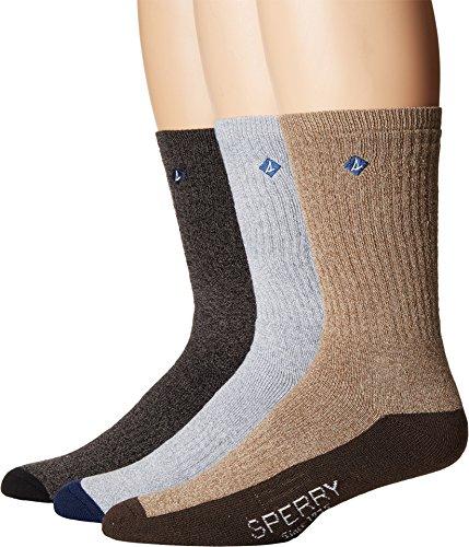 's Crew Socks, Black Marl Assorted, Shoe Size 6-12 ()