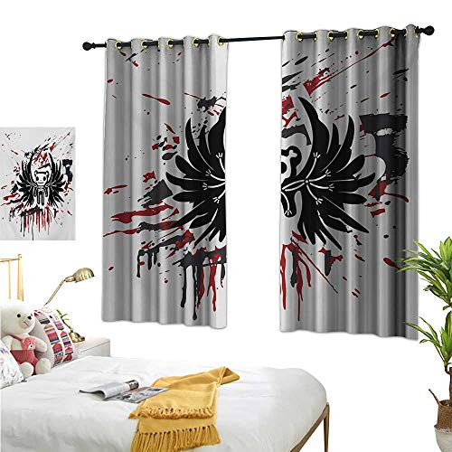 Warm Family Eclipse Curtains Halloween,Teddy Bones with Skull Face and Wings Dead Humor Funny Comic Terror Design,Pearl Black Ruby 84