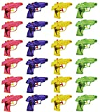 Mini Squirt Guns - 24 Pack of Water Pistol Plastic Toys in Assorted Colors, Yellow, Pink, Purple, Green for Kids Party Favors, Ages 3 and Up