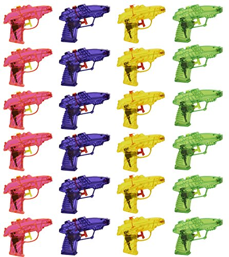 Blue Panda Mini Squirt Guns - 24 Pack of Water Pistol Plastic Toys in Assorted Colors, Yellow, Pink, Purple, Green for Kids Party Favors, Ages 3 and Up
