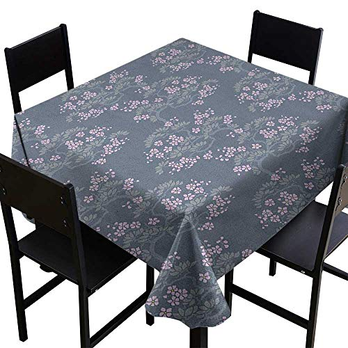 (SKDSArts 3D Printed Tablecloth Leaf,Abstract Artful Japanese Plum Blossoms Asian Nature Garden Flora Theme, Bluegrey Pale Pink Sage,W70 x L70 Square Tablecloth)