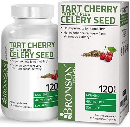 Bronson Tart Cherry Extract + Celery Seed Capsules - Powerful Uric Acid Cleanse, Joint Mobility Support & Muscle Recovery Supplement - GMO Free, Gluten Free & Soy Free Formula - 120 Vegetarian Capsules