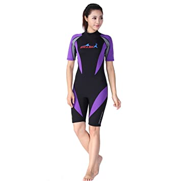 391c597da1 1.5mm Neoprene Shorty Wetsuits Women Diving Snorkeling Wet Suit Short Sleeve  Swimsuit  Amazon.co.uk  Sports   Outdoors