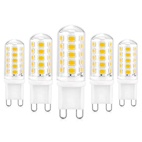 Bombilla LED G9 Regulable, Pack de 5 Blanco Cálido 3000K 550 Lúmenes 5W Lámpara LED