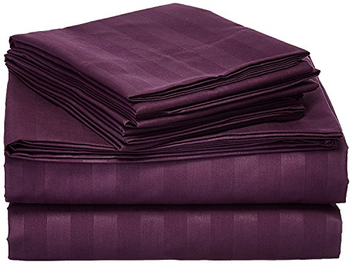 Queen Size 4 Pc Bedding Set - 1800 Series Hypoallergenic Wrinkle Free Bed Linens with Brushed Luxury Microfiber | Includes 2 Pillows|1 Fitted|1 Flat Bed Sheet (Egyptian Quality Collection) - Purple (Bedding Inexpensive Sets)