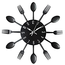 Kitchen Wall Clock, Timelike 3D Removable Modern Creative Cutlery Kitchen Spoon Fork Wall Clock Mirror Wall Decal Wall Sticker Room Home Decoration (Black)