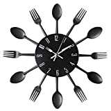 Kitchen Decorations Kitchen Wall Clock, Timelike 3D Removable Modern Creative Cutlery Kitchen Spoon Fork Wall Clock Mirror Wall Decal Wall Sticker Room Home Decoration (Black)