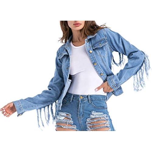 95ef5b5b7b6 85%OFF SATUKI Denim Jacket For Women,Ladies Blue Button Long Sleeves  Tassels Loose