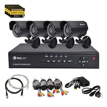 SUNLUXY® CCTV KIT DVR Video Grabadora 4CH de H.264 Videovigilancia Sistema 4 Cámara