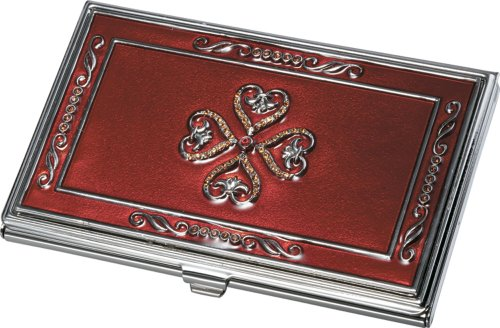 Visol Products Red Lacquer with Embedded Crystals Business Card Holder for Women Embedded Crystal