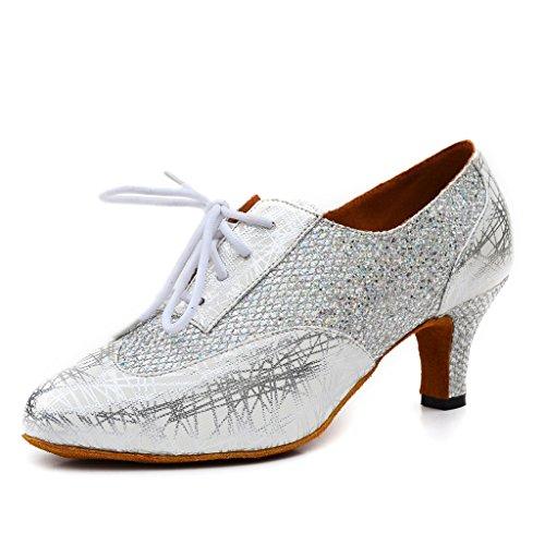 Para Misu Plateado Danza Zapatillas Mujer Plata De vfARx6w