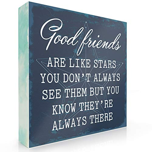 Barnyard Designs Good Friends are Like Stars Box Wall Art Sign, Primitive Country Farmhouse Home Decor Sign with Sayings 6
