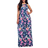 Forthery Women's Maxi Dress Summer Floral Printed Sleeveless Casual Tunic Long Party Dress (Navy, XXL)