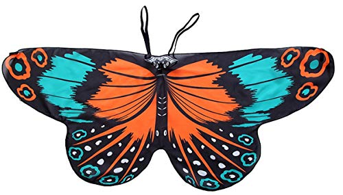 CISMARK Kids Soft Chiffon Material Butterfly Wings for Girls Party Gift Blue and Orange