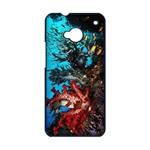 Cheap Hot cases, Colorful undersea world picture for black plastic HTC ONE M7 case