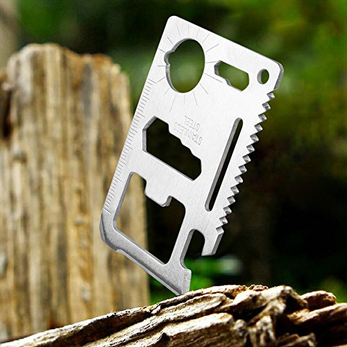 Credit Card 11-in-1 Survival Pocket Tool, Thickened Stainless Beer Opener steel/Inch Scale/Double Row Sawtooth Pocket Tool for Men (10PCS) Photo #4