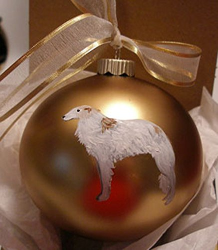 Borzoi Dog Hand Painted Christmas Ornament - Can Be Personalized with Name