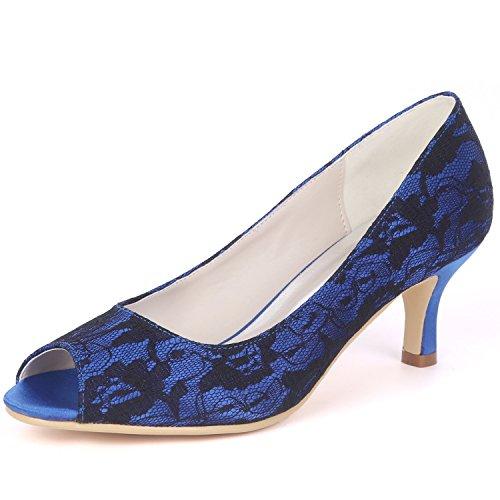 yc Las Nupcial L Mid Noche Heels Mujer Toes De Honor High La Boda Zapatos Tacón 6cm Blue Stiletto Damas Peep Por dnnXCq