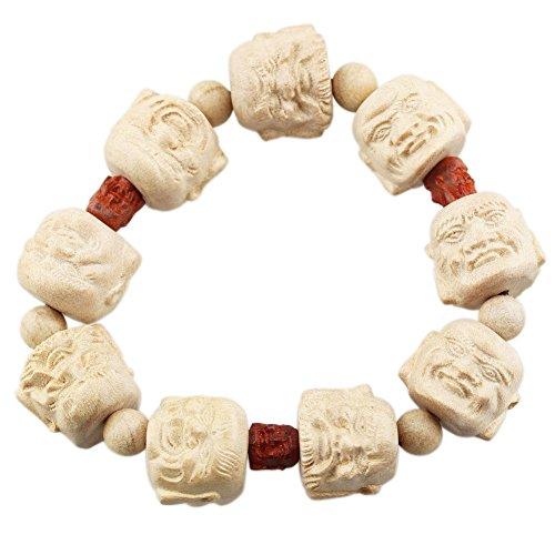FOY-MALL 18mm Peach Wood Carved Eighteen Arhats Bead Stretch Bracelet E1560 (Wood Beads Peach)