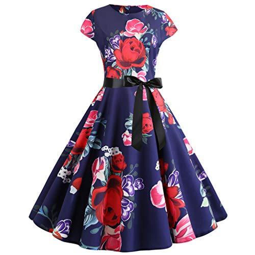 TOTOD Vintage Dress Women Elegant Floral Print Dresses - O Neck Evening Party Swing Dress