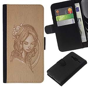 Supergiant (Woman Girl Retro Rustic Vintage Portrait) Dibujo PU billetera de cuero Funda Case Caso de la piel de la bolsa protectora Para Samsung Galaxy Core Prime / SM-G360