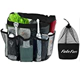Quick Drying Oxford 8 Pockets Hanging Mesh Shower Caddy Organizer Toiletry Tote Makeup Cosmetic Storage Bag Travel Camp Gym Dorm Bathroom Accessory Pouch Case Holder With Handles