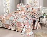 Cotton Quilt queen/double size Sets -3pcs include 2 pillow Shams patchwork Bedspread blanket (Queen:90''90'', Patchwork pink)