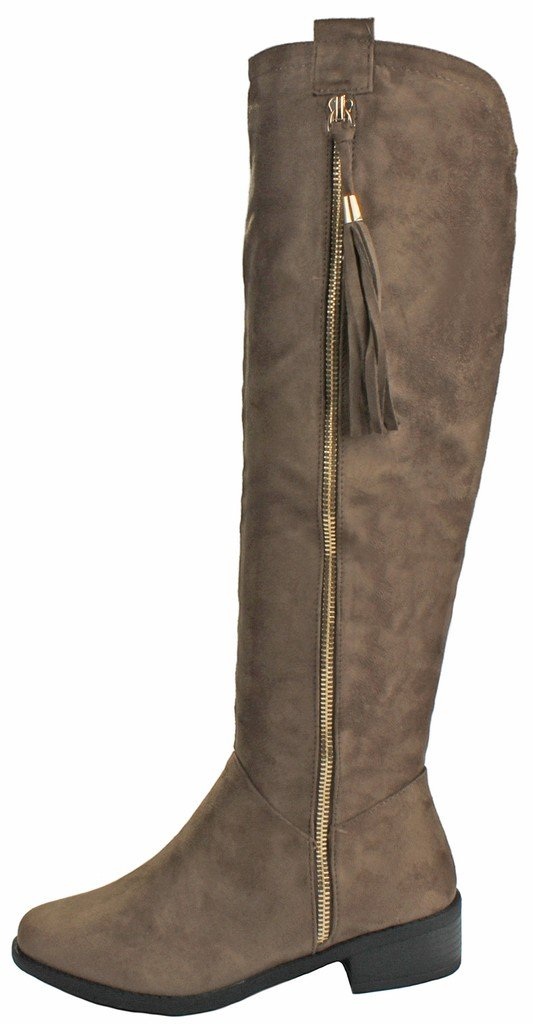JJF Shoes Women Greta1 Taupe Tassel Faux Suede Gold Decorative Zip Quilted Knee High Boots-7.5 by JJF Shoes (Image #2)