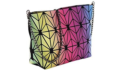 Lattice Chain Strap Color Geometric Shard Multi Clutch with 6BTTq5