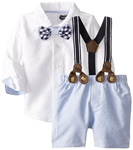 Mud Pie Baby-Boys Newborn Suspender Short Set Chambray (3T) -