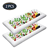 Jasonwell 2 PCS Inflatable Serving Bars Ice Buffet Salad Serving Trays Food Drink Holder Cooler Containers Indoor Outdoor BBQ Picnic Pool Party Supplies Luau Cooler w Drain Plug