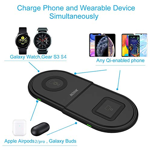 NOIHK Wireless Charger Pad Compatible with Samsung Galaxy Watch 42mm 46mm,2 in 1 Fast Charging Dock Station with USB Port for iPhone 11/11 Pro Max X XS XR 8 Plus,Qi Enabled Phones,Airpods,Galaxy Buds