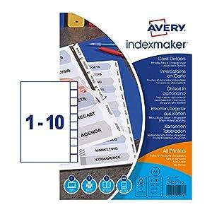 Avery IndexMaker - Separadores de plástico no perforados
