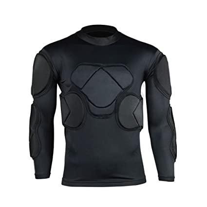 123ec50f9 COOLOMG Men s Sport Soccer Football Rash Shock Padded GOALIE Goal Long  sleeve Shirt M