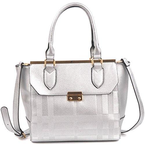 Dasein Women's Fashion Designer Patchwork Textured Satchel Top Handle Handbag Purse w/ Strap Silver