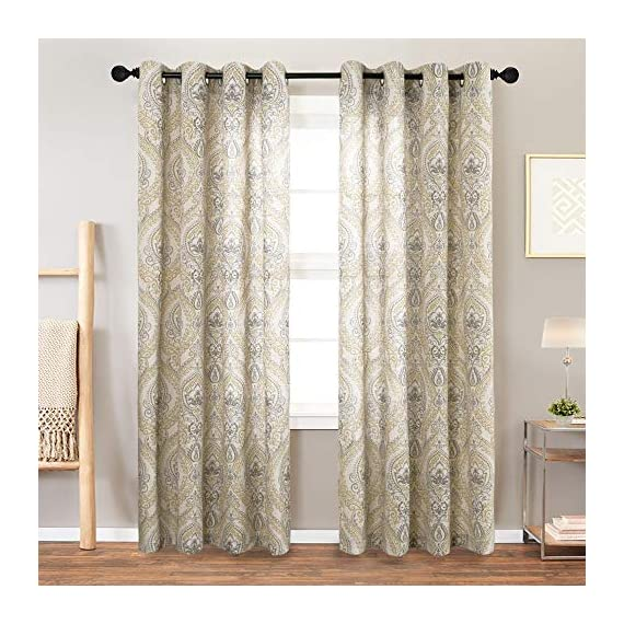 """jinchan Damask Printed Curtains for Bedroom Drapes Vintage Linen Blend Medallion Curtain Panels Window Treatments for Living Room Patio Door 1 Pair 84"""" Yellow - Package includes 2 Damask Printed Light Filtering Curtains. Each measures 50""""width by 84"""" length. Available in six colors. Flaunting a large damask print in vivid colors, this beautiful panel pair creates a striking contrast, for a stylish and eye-catching look. Fabric reduce up to 50% of sunlight, letting you enjoy a serene and comfortable internal environment during any time. - living-room-soft-furnishings, living-room, draperies-curtains-shades - 511 vXgu%2BLL. SS570  -"""