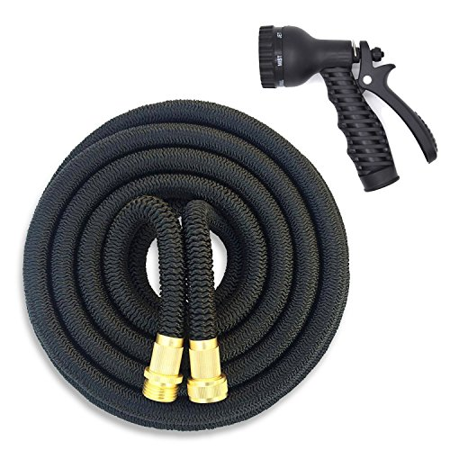 HOMEE Expandable Garden Hose Heavy Duty 32-Ply 3 Layer Latex Rubber Light Weight Durable with 8- Water Pattern Spray Nozzle, 3/4- Inch by 50 Feet