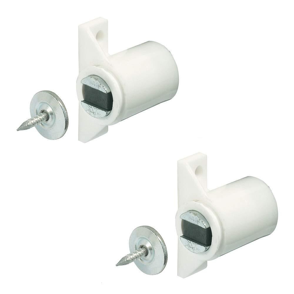 Gedotec Schrank-Magnetverschluss weiss mit Gegenplatte Magnetschnapper Tü r zum Schrauben - H2062   Tü rmagnet Haftkraft 4, 0 kg   MADE IN GERMANY   2 Stü ck zum Schrauben