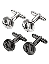 UHIBROS Knot Cufflinks for Men Tuxedo Shirt Cuff links Black Silver Woven Unique Business Wedding Gift- 2 Pairs