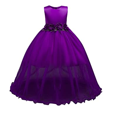 Hougood Girls Dresses Summer Princess Dress Prom Dresses Birthday Weddings Party Dress Ceremony Formal Dresses Evening