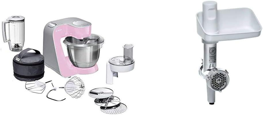 Bosch CreationLine MUM58K20 - Robot de cocina, 1000 W, recipiente de 3.9 litros + MUZ5FW1 - Picadora de carne eléctrica, accesorio para Robot de Cocina MUM5, plástico y acero inoxidable