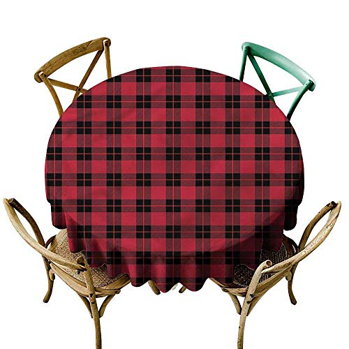LsWOW 60 Inch wipeable Round Tablecloth Plaid Geometrical Scottish Ornament Great for Buffet Table Parties Holiday Dinner & More