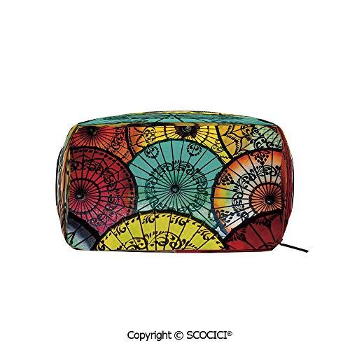 Printed Makeup Bag Organizer toiletry bags Tribal Parasols at Indonesian Street Market Heritage Boho Rectangle Cosmetic Bags for Girls Ladies