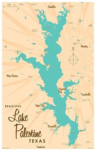 Lake Palestine Texas Map Vintage-Style Art Print by Lakebound (12