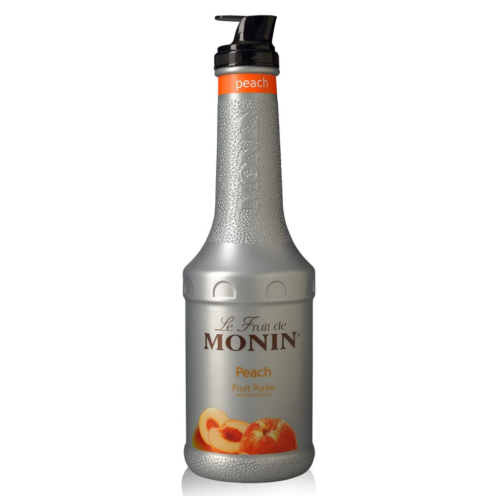 Monin - Peach Fruit Purée, Summertime Sweetness, Great for Cocktails, Smoothies, and Lemonades, Vegan, Non GMO, No Artificial Ingredients (1 Liter)