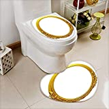 Printsonne Non Slip Bath Shower Heart shaped foot pad golden oval frame with ornaments in gold for pictures or mirror 2 Pieces Microfiber Soft